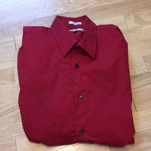 Express fitted stretch cotton dress shirt